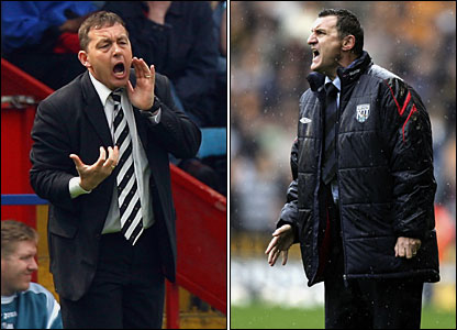 Derby manager Billy Davies and West Brom boss Tony Mowbray