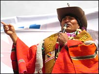 President Evo Morales addresses the crowds in Chuqui Chuqui