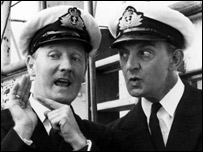 Leslie Phillips (L) in the BBC's long-running The Navy Lark