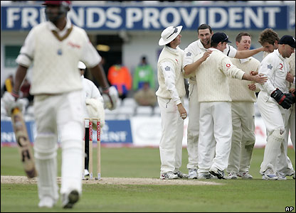Steve Harmison celebrates after removing Runako Morton