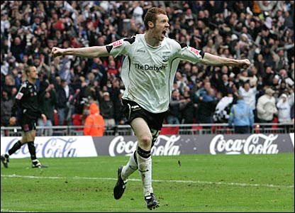 Stephen Pearson celebrates his goal for Derby