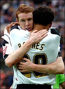 Stephen Pearson celebrates his goal with Giles Barnes