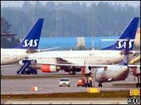SAS planes at Stockholm's Arlanda airport