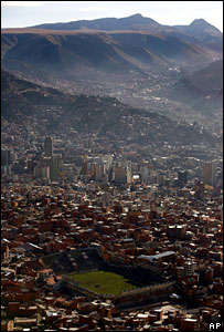 Bolivar stadium, some 3600m above sea level in downtown La Paz, Bolivia