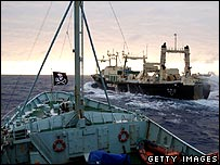 Sea Shepherd ship the Robert Hunter (L) approaching Japanese whaling ship the Nisshin Maru  (Feb 2007)