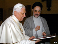Pope Benedict XVI and former Iranian President Mohammad Khatami meet at the Vatican on 4 May 2007