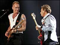 Sting and Andy Summers at Police concert in Vancouver 28 May 2007