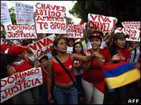 Manifestación de apoyo al presidente Chávez