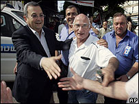 Ehud Barak greets supporters