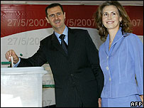 President Assad and the first lady voting