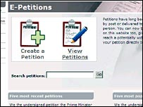 Screen grab of e-petitions website