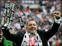 Derby boss Billy Davies celebrates winning the Championship play-off final