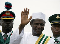 Nigeria's new President Umaru Yar'Adua after he is sworn in - 29/05/2007