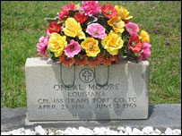 The headstone on the grave of Oneal Moore