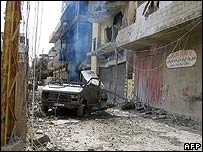 A picture dated 22 May and obtained by AFP 27 May of wrecked car in Nahr al-Bared camp