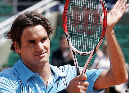 Federer celebrates victory