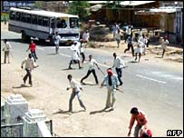 Gujjars hurl stones at unseen police during clashes on National Highway 12 at Bundi in Rajasthan