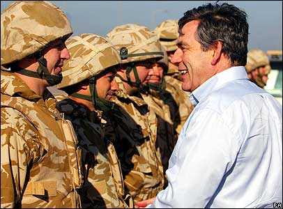 Gordon Brown meeting UK troops in Basra
