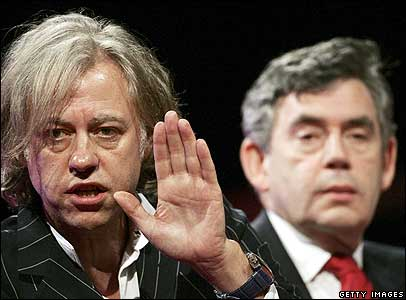 Bob Geldof with Gordon Brown