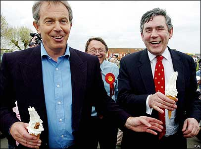 Tony Blair and Gordon Brown eating ice creams