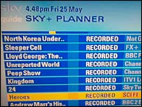 A screen grab from a Sky+ box