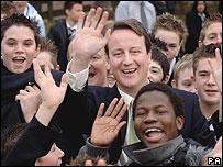 Cameron in school crowd