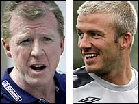 England coach Steve McClaren (left) and the recalled David Beckham