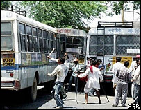 Gujjars hurl stones at public buses during clashes in Rajasthan on Tuesday
