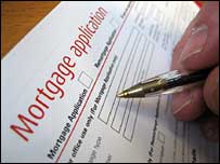 Mortgage application form being filled in