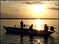 Fishermen on the Amazon river