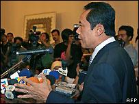Jakarta Governor Sutiyoso at news conference in Jakarta after leaving Australia - 30/05/2007