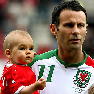 Giggs poses with his son before the recent friendly against New Zealand