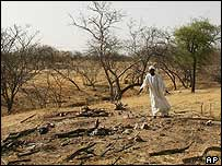 Man stands by mass grave in Darfur