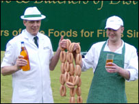 Stuarts butchery director Derek McMahon (left) and butchery manager Billy O'Neil  with some of the sausages