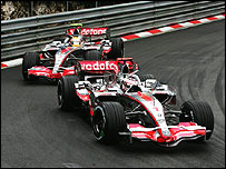 Fernando Alonso leads Lewis Hamilton during the Monaco Grand Prix