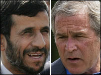 Iran's President Ahmedinejad and USA's President Bush