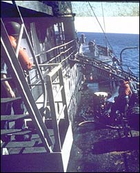 USS Liberty port side showing fire damage (pic courtesy ussliberty.org)