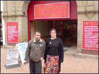 Steve and Jo Francis outside the Queen's Arcade