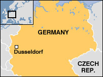 Map of Germany and Dusseldorf