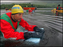 Adventure racing competitor swims Loch Ness. Picture by Chris Owen Halper