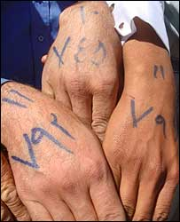 Returnees' hands painted with ink