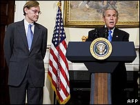 Robert Zoellick (left) and President Bush