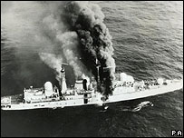 HMS Sheffield on fire in the Falklands War on 4 May, 1982