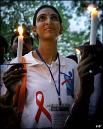 Candlelit Aids vigil in Delhi, May 21, 2007