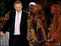 Tony Blair in the village of Mahera