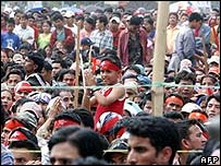 Maoist supporters in Nepal