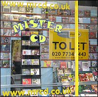 Mister CD in Berwick Street, London, with To Let sign in window