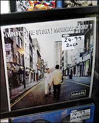 Oasis album in window of Berwick Street shop