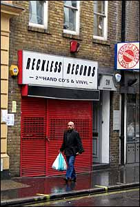 Reckless Records in Berwick Street, London, after its closure