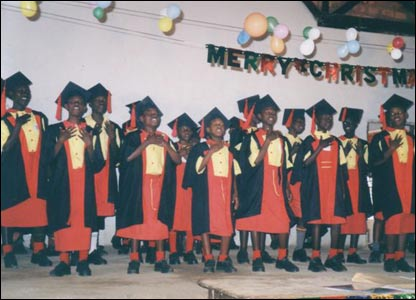 A group of the children at their graduation ceremony